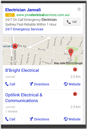 Screen shot from the Jannali Electricians search on mobile